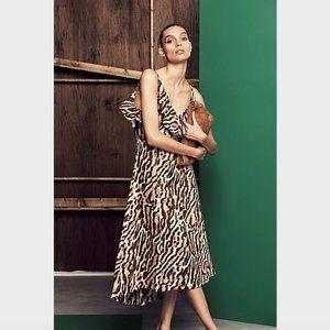 Witchery Tan Animal Print Linen Ruffle Dress 8